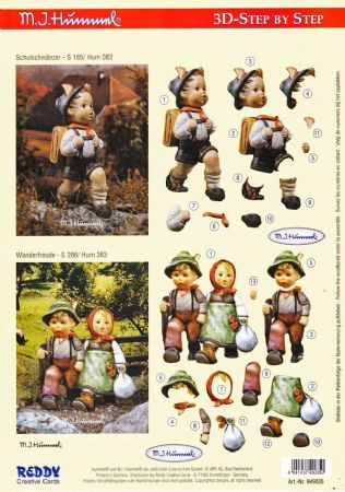 Hummel Children Hiking 3d Decoupage Sheet by Reddy